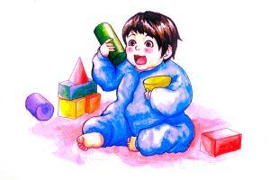 積み木で遊ぶ赤ちゃん