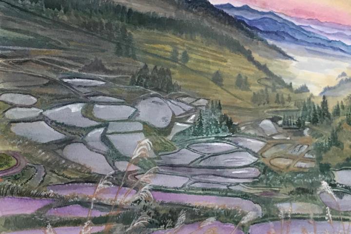 水田の風景画